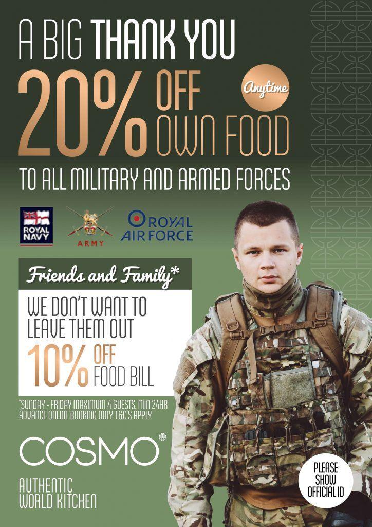 military discount restaurants uk